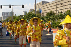 Performer-in-parade. MANILA, PHILIPPINES - APR. 14: street dancers enjoying parade during Aliwan Fiesta, which is the biggest annual national festival Royalty Free Stock Photography