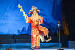 Performer performing traditional Chinese opera on the Chinese ghost festival. Royalty Free Stock Photography