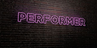 PERFORMER -Realistic Neon Sign on Brick Wall background - 3D rendered royalty free stock image. Can be used for online banner ads and direct mailers Stock Illustration
