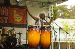 A performer on stage at an annual musical event in the caribbean stock photos