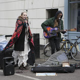 Performers busking at Broadway market Royalty Free Stock Photo