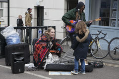 Performers busking at Broadway market Royalty Free Stock Images