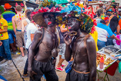 Performers dressed as El Africano with colorful Royalty Free Stock Images