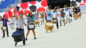 Performers drumming during NDP 2010 Royalty Free Stock Photos