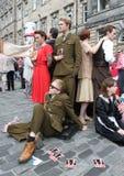 Performers during Edinburgh Fringe Festival. EDINBURGH- AUGUST 11: Members of Greenwich Theatre publicize their show Macbeth during Edinburgh Fringe Festival on Stock Image