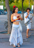 Performers giving road show Stock Images