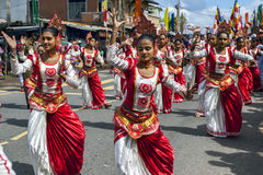 Performers at the Hikkaduwa perahera in Sri Lanka. Stock Photo