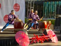 Performers at Japanese spring festival Royalty Free Stock Photography