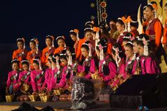 Performers on stage for Thai King's birthday, a Stock Image