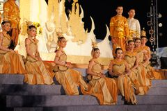 Performers on stage for Thai King's birthday, a Stock Photography