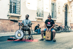 Performers of street artists during the Busker Festival in Ferra Royalty Free Stock Photography