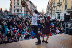 Performers taking part in Milan Clown Festival. MILAN, ITALY - MARCH 6: Artists perform in their acrobatic show at Milan Clown Festival, international event Royalty Free Stock Image