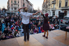 Performers taking part in Milan Clown Festival. MILAN, ITALY - MARCH 6: Artists perform in their acrobatic show at Milan Clown Festival, international event Royalty Free Stock Images