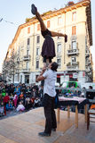 Performers taking part in Milan Clown Festival Royalty Free Stock Image