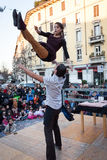 Performers taking part in Milan Clown Festival. MILAN, ITALY - MARCH 6: Artists perform in their acrobatic show at Milan Clown Festival, international event Stock Photography