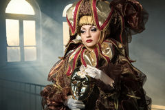 Performers in  Venetian costume Royalty Free Stock Images