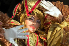 Performers in Venetian costume Royalty Free Stock Photography