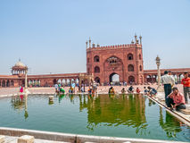 Performing ablution at Jama Masjid, New Delhi Stock Images