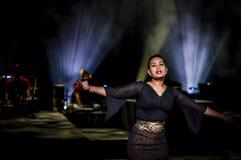 Performing arts in dark studio Stock Images