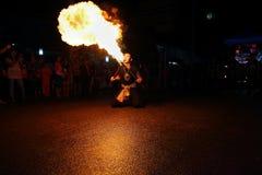 Performing arts fire sword dance Stock Photos