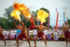 Performing arts fire sword dance, cultural Traditions Stock Photos
