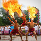 Performing arts fire sword dance, cultural Traditions Stock Photo