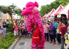 Performing a Chinese Lion Dance Stock Image