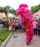 Performing a Chinese Lion Dance Stock Images