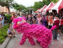 Performing a Chinese Lion Dance Royalty Free Stock Image