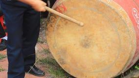 Performing drum in folk festival, vietnam stock footage