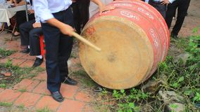 Performing drum in folk festival, vietnam stock video