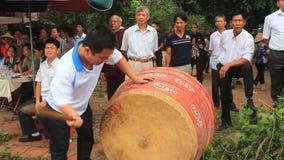 Performing drum in folk festival, vietnam stock video