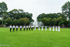 Performing in Independence Palace Stock Photo