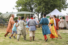 Performing medieval dance Stock Images
