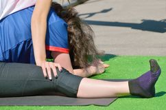 Performing sports massage for athletes. Stock Photo