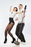 Performs Duet Singing Microphone Stock Image