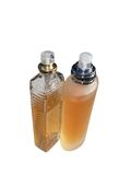 Perfume. Two perfume bottle. Isolated on white Stock Photos