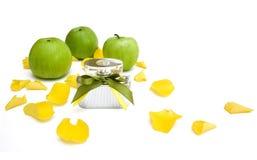 Perfume with apple Stock Photo