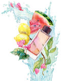 Perfume aroma watercolor illustration Stock Images