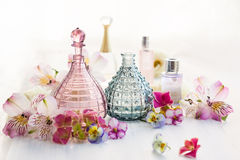 Perfume and aromatic oils bottles Royalty Free Stock Images