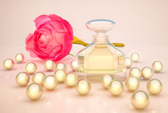 Perfume in beautiful bottle with flower and pearls. Royalty Free Stock Images