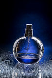 Perfume bottle. And water drops Royalty Free Stock Image