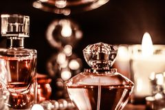 Free Perfume Bottle And Vintage Fragrance On Glamour Vanity Table At Night, Pearls Jewellery And Eau De Parfum As Holiday Gift, Luxury Stock Photo - 165942300