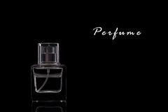 Perfume. A Perfume Bottle on a Black Background.Copy Space Stock Photography