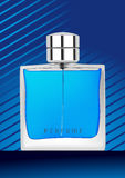 Perfume bottle in blue background Stock Photography