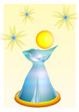 The Perfume Bottle. Blue parfume bottle with yellow flowers Stock Photo