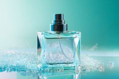 Perfume bottle with crystals Royalty Free Stock Images