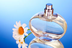 Perfume bottle and flower Royalty Free Stock Photography