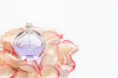 Perfume bottle with flower petals on light background. Perfumery, fragrance collection. Women accessories. Copyspace for Royalty Free Stock Image