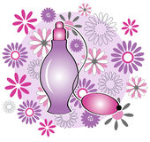 Perfume bottle with flowers Royalty Free Stock Photo